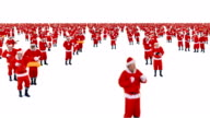 Group of santa claus dancing and performing various activity video