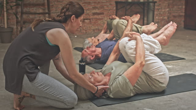 Group of Seniors in a Yoga Class video