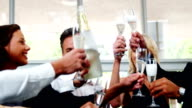 Group of smiling friends toasting champagne glass video