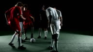 Group of soccer athletes play games together. video