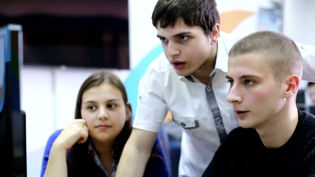 Group Of Students Studying Together video