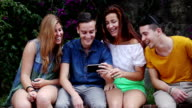 Group of Teenagers relaxing in the park video