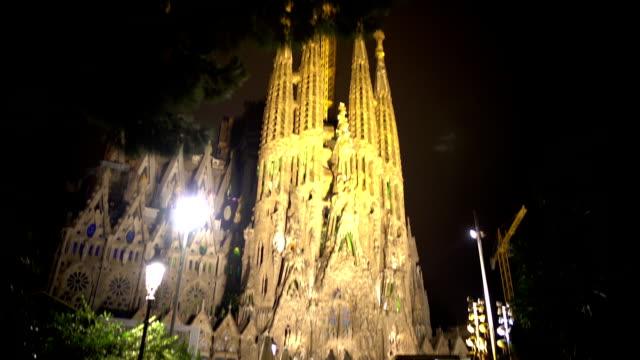 Group of tourists viewing Sagrada Familia church designed by Gaudi, Barcelona video