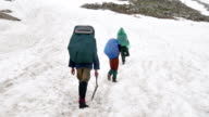 group of tourists with Hiking backpacks coming up the High Snowy Mountains in Kavkaz region video