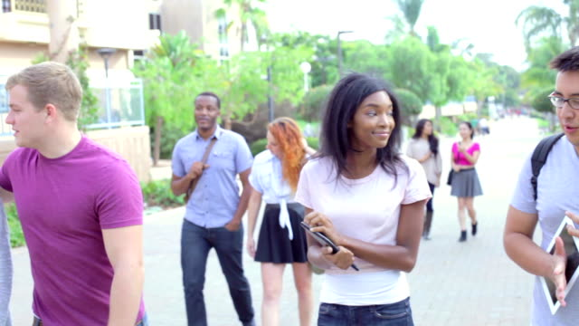 Group Of University Students Walking And Talking On Campus video
