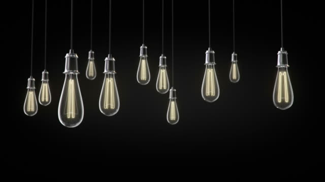 Group of vintage bulb lights 3d animation video