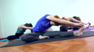 Group of women exercising yoga pose on the floor video