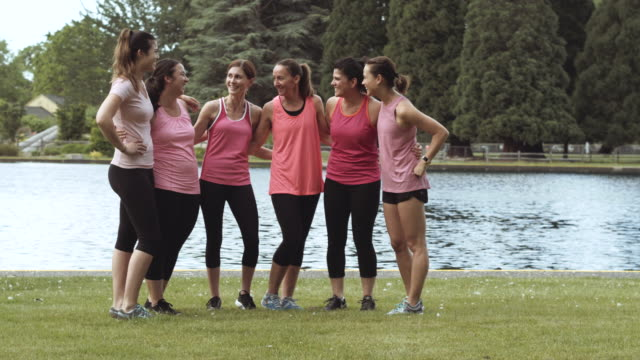 Group of women gathering before a run video