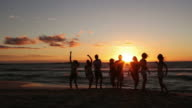 Group Of Young People At Beach Party video