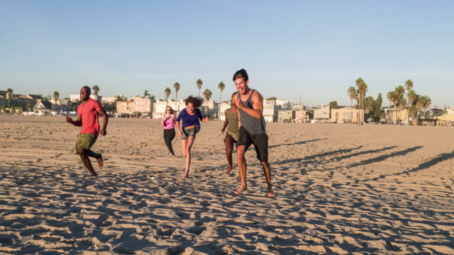 Group of young people having fun in the beach video