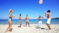 Group of young people playing ball on the beach. video
