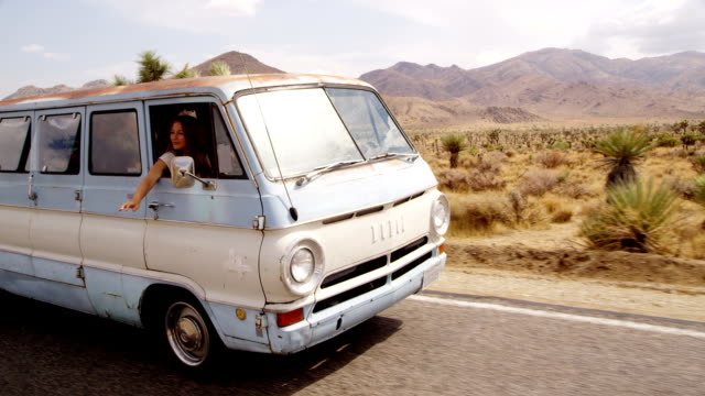 Group of young peple on road trip in van video