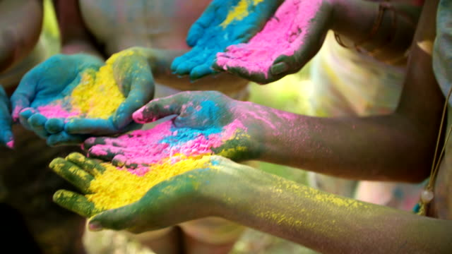 Group shot of Hands Holding Holi Powder video