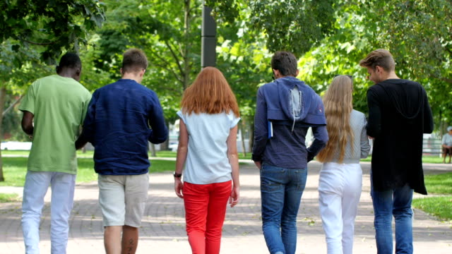 Group stylish student with notebook on footpath outdoor.  back view video