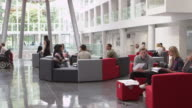 Groups of students working together a university lobby, shot on R3D video