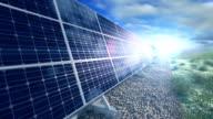 Grow up building solar panel generating energy close video
