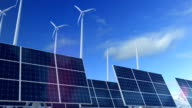 Grow up building solar panel with wind turbines generating energy video