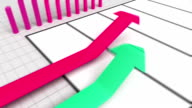 Growing arrow business chart Graph with coins bars and dills. video