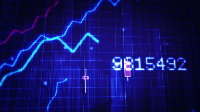 Growing financial chart close-up. Blue and White. Loopable. video