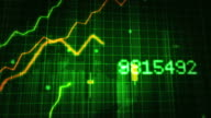 Growing financial chart close-up. Green and Blue. Loopable. video