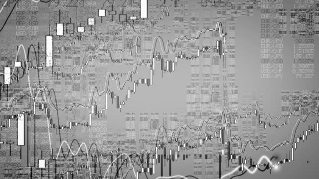 Growing Financial Charts Loop. Panorama. video