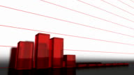 Growing graph of red glass bars video