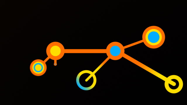 Growing network of ideas inside head. Orange, blue, yellow. video