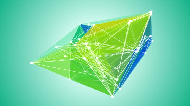 Growing network of lines, dots and triangles video