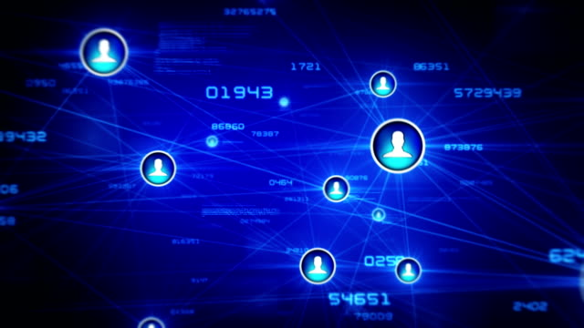 Growing social network, with icons. Blue-White. Loopable. video