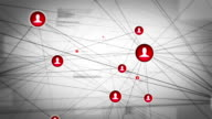 Growing social network, with icons. gray and Red. Loopable video