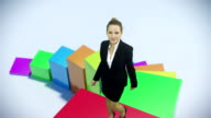 Growth bar chart and business woman video