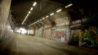 Grunge Graffit Tunnel time-lapse. HD video