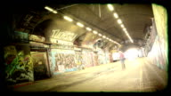 Grunge Graffiti Tunnel time-lapse loop. HD video