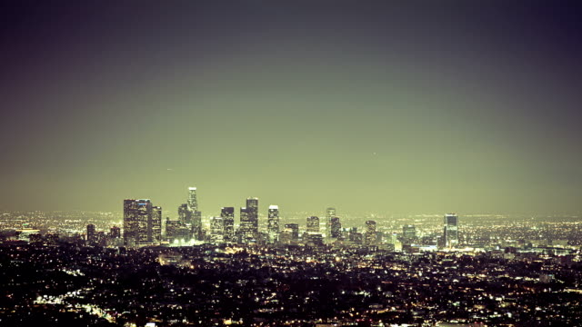Grunge LA skyline timelapse video