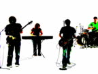 Grunge style silhouette of a band singing together video