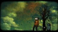 grunge TVheads loop HD video