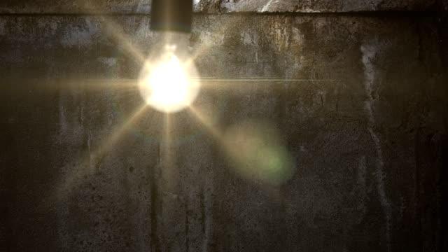 Grunge wall in dark abandoned room. video