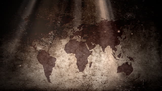 Grunge world map video