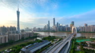 guangzhou skyline at dusk video