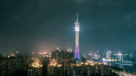 Guangzhou tower at night video