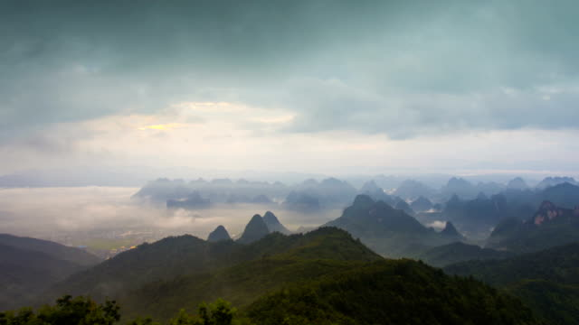 Guilin Hills at Dusk ,Guilin,Guangxi,China.time-lapse photography video