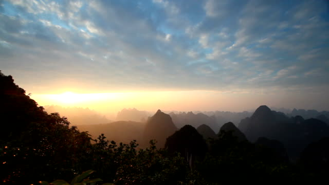 Guilin Hills at Dusk time-lapse photography video