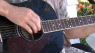 Guitarist hand playing acoustic guitar video