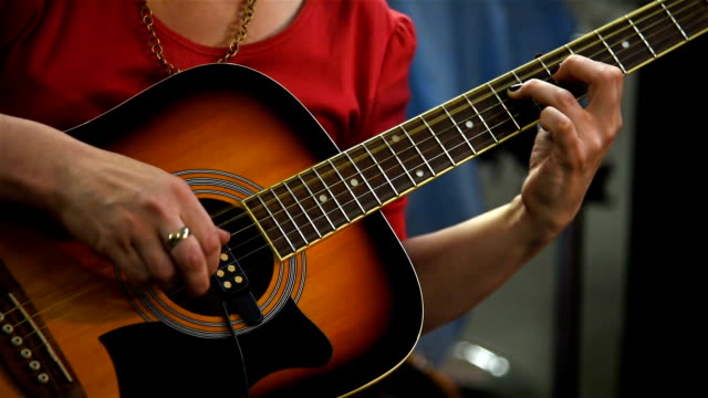 Guitarist Playing On Acoustic Guitar video