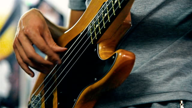 Guitarist Playing On Electrical Bass Guitar video