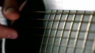 Guitarist touching guitar strings. Music performance. Super slow motion macro video video