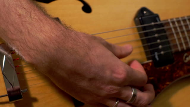 Guitarists hands close-up video