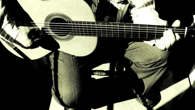 Guitarrist playing Spanish music video
