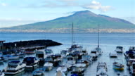 Gulf of Naples and Mount Vesuvius on the background, yachts in front video