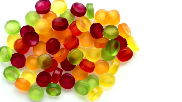 Gum Sweets isolated on white. video